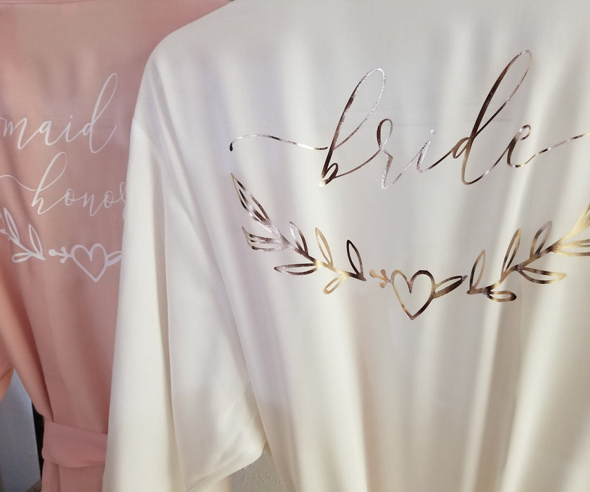 One Size, Personalized, Bridesmaid, maid of honor, robe, With Lace, Cotton, Rayon, Blush, Rose Gold Glitter gift bridal shower party -RB6HTV