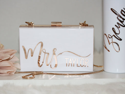 Personalized Acrylic Bridal Clutch for Mrs Bride Bridesmaid Maid of Honor Gift Bachelorette Party Favors Honeymoon Bag Going out CL1