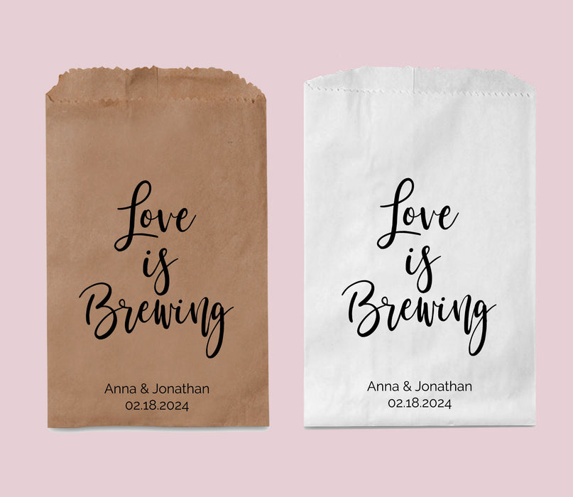 Love is Brewing Wedding Favor Paper Bags for Coffee Beans, Custom Personalized Party Favor Bag bulk