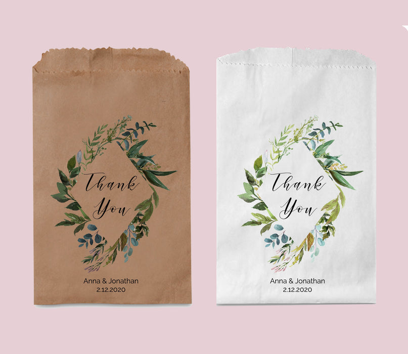 Wedding Favor Bag, Tropical Leafy Wedding Thank You Bag, Personalized Treat Bags, Bridal shower bags