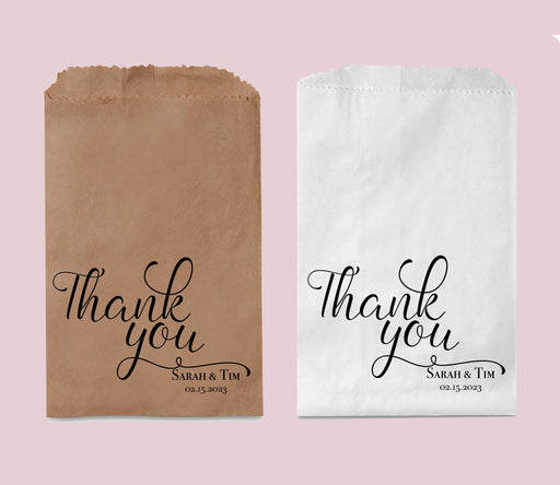 Wedding Favor Bags, Personalized Thank You Paper Bags, Treat Bag, Candy Bar Bag, Goodie Bags