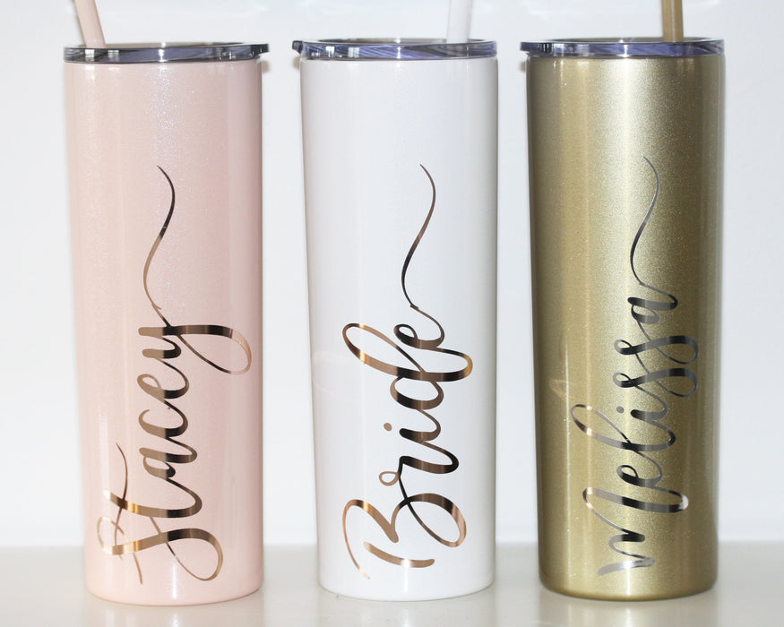 Personalized Tall Metal Tumblers with Lid and Straw Bridesmaid Gifts Rose Gold Blush Pink Custom Cups BULK DISCOUNT on Set of 5 6 7 8 9 +