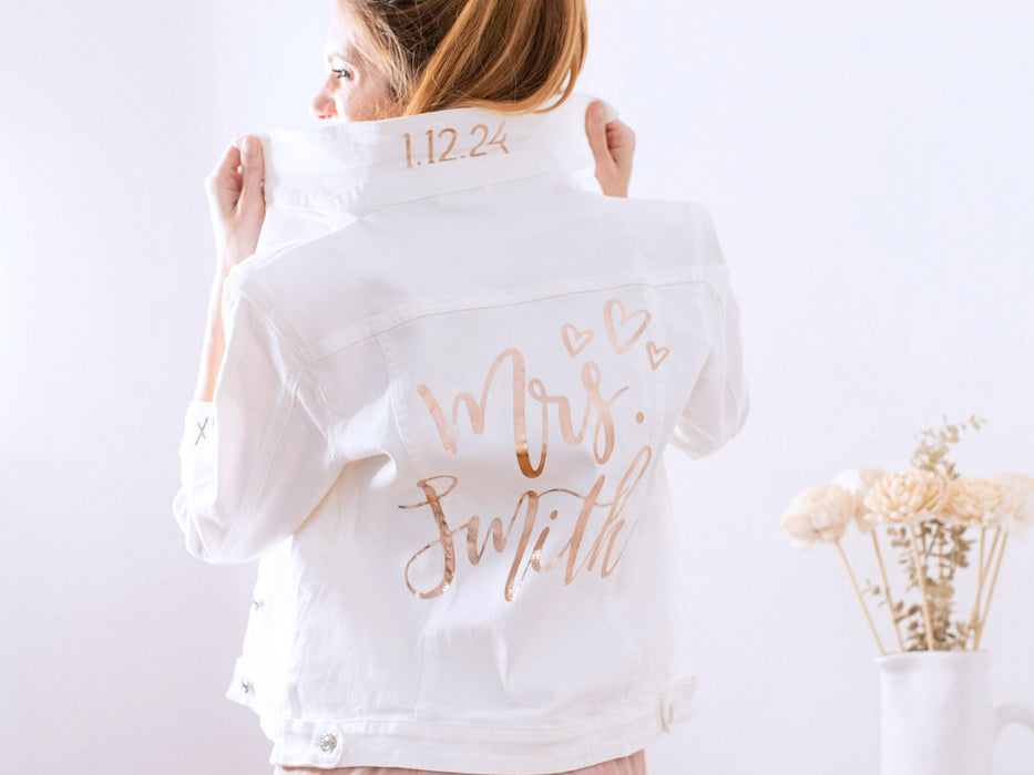 Custom Mrs. White Denim Jacket // Iron on Heat Transfer // Mrs. Jacket Mrs. Personalized Decal works on faux leather + leather bride jacket