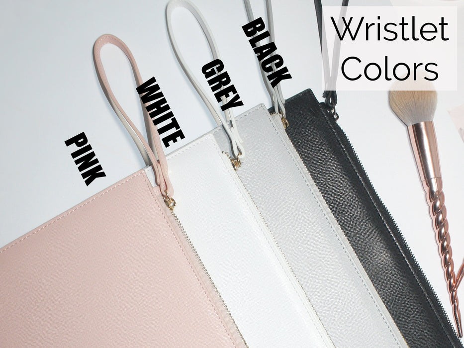 Personalized Vegan Leather Wristlet, Bridesmaids Gifts, Bridal Party Bags Set of 5 6 7 8 + get BULK DISCOUNT, pleather makeup bag clutch