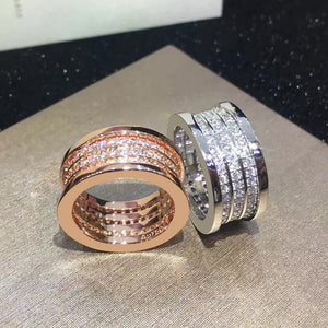 18K Stainless Steel Three Row Ring in Rose and Silver