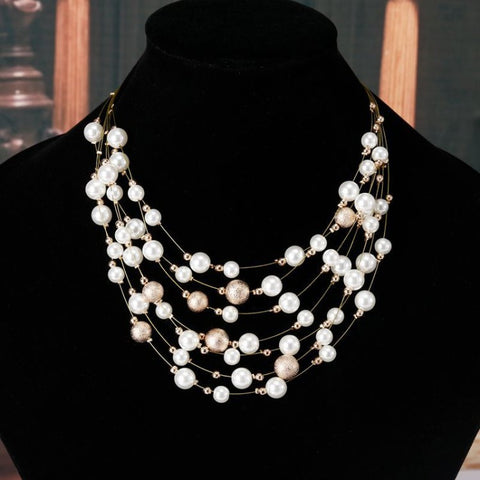 Gold Color Multi layer Chain Imitation Pearls Necklaces