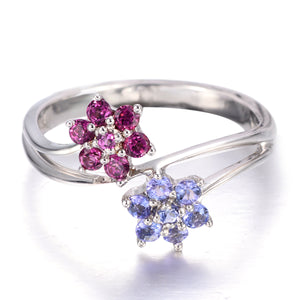 Natural Tanzanite & Rhodolite Solid Sterling Silver Flower Ring