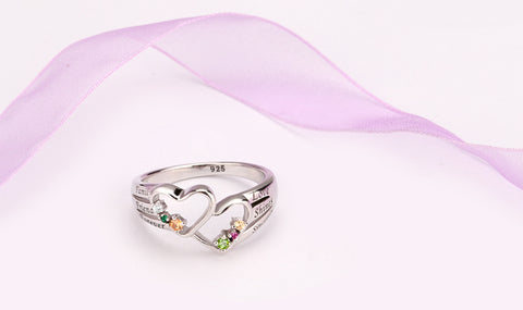 Double Heart Silver Personalized Birthstone Ring