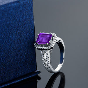 2.78ct Emerald Cut Natural Purple Amethyst Ring