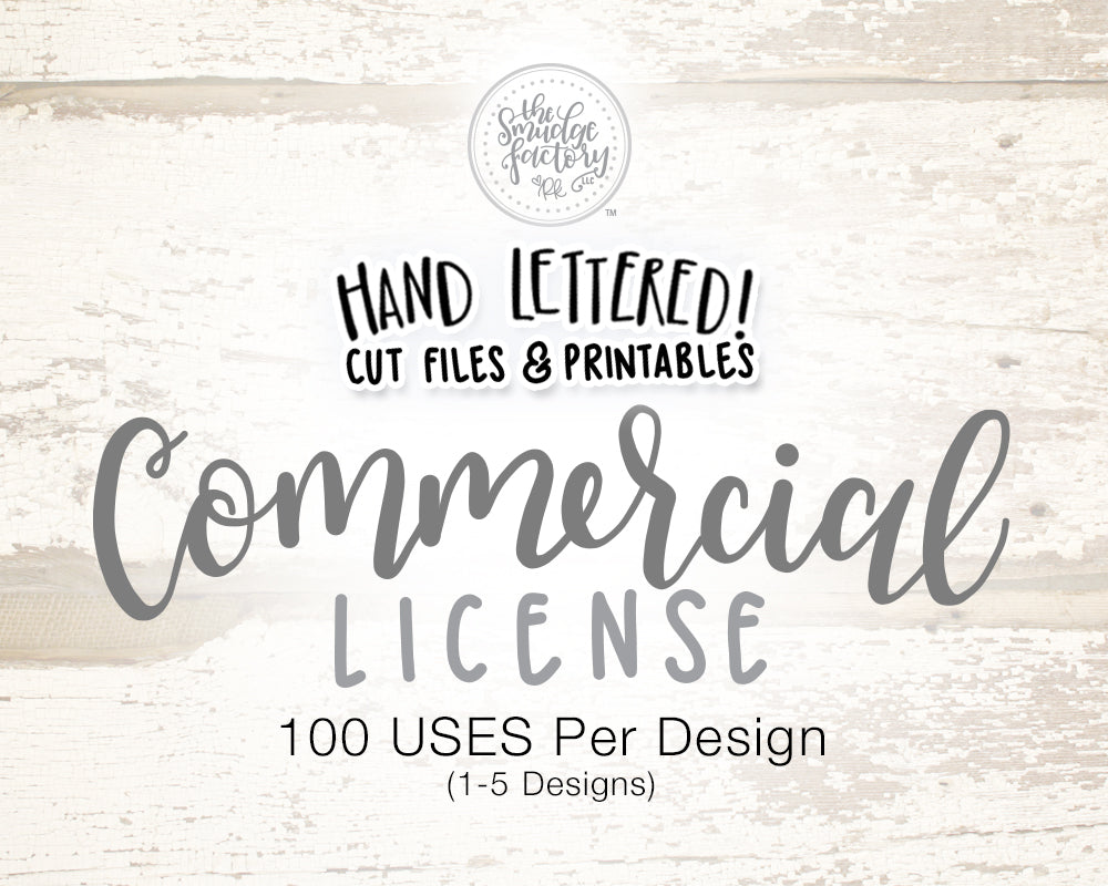 Commercial License for 1-5 Designs (Choose Qty), 100 Uses Each