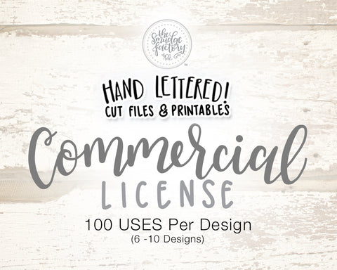 Commercial License for 6-10 Designs (Choose Qty), 100 uses