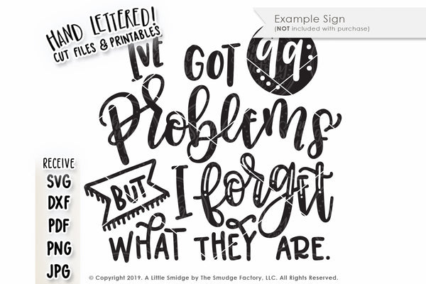I've Got 99 Problems But I Forget What They Are SVG & Printable