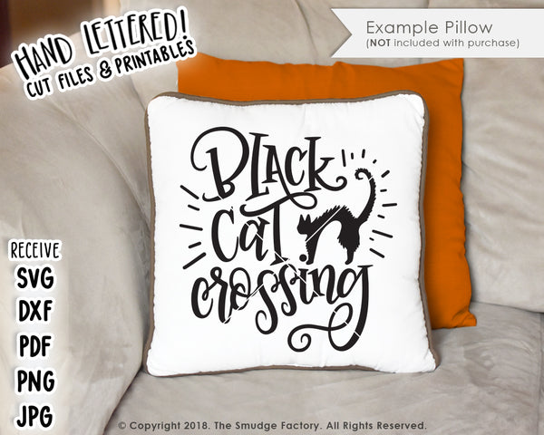 Black Cat Crossing SVG & Printable
