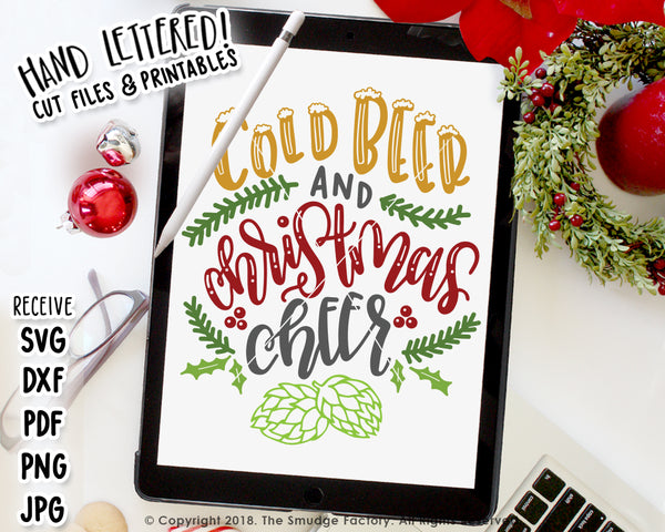 Cold Beer And Christmas Cheer SVG & Printable
