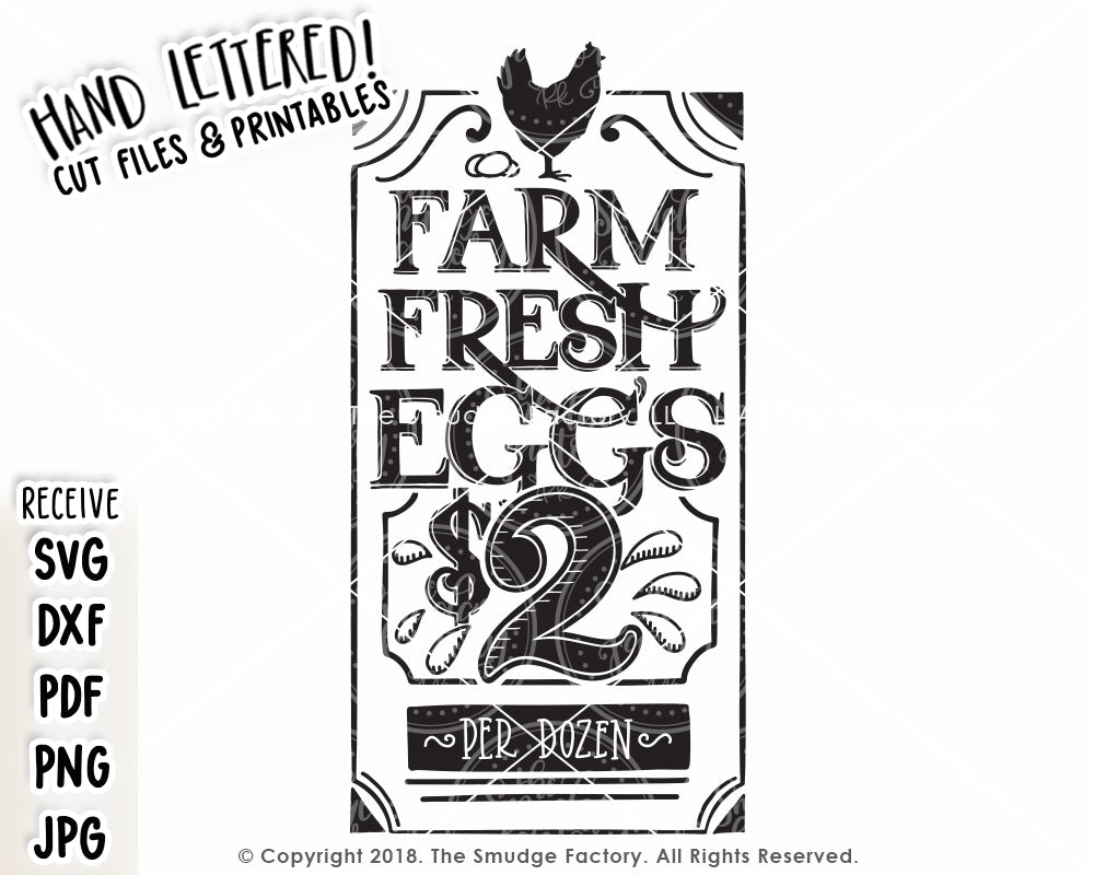 Farm Fresh Eggs 2 Svg Amp Printable The Smudge Factory