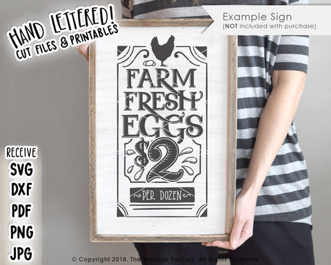 Farm Fresh Eggs $2 SVG & Printable