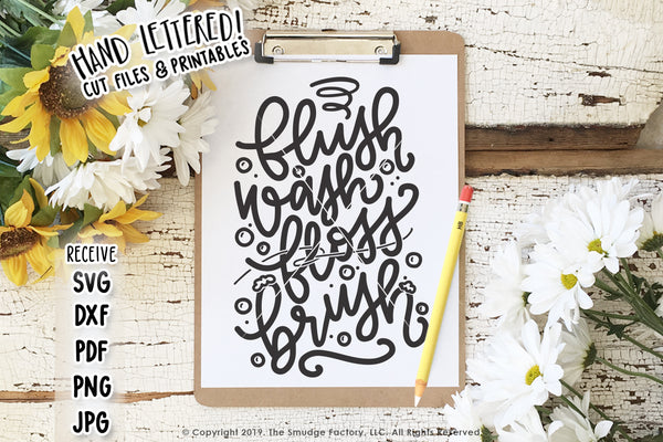 Flush Wash Floss Brush SVG & Printable