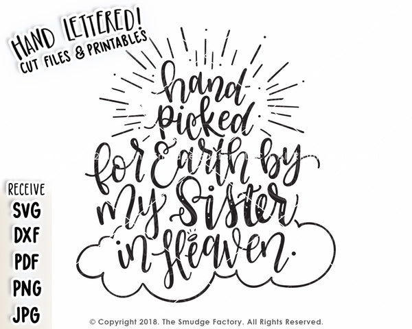 Hand-Picked for Earth By My Sibling In Heaven SVG & Printable Bundle