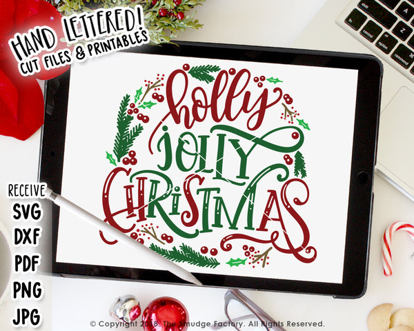Holly Jolly Christmas Wreath SVG & Printable