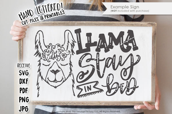 Llama Stay In Bed SVG & Printable