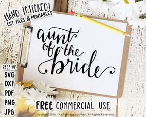 Aunt Of The Bride SVG & Printable