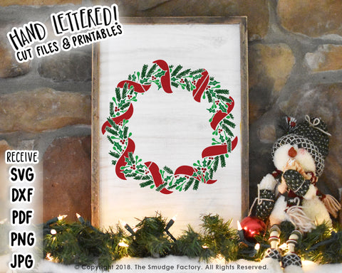 Christmas Wreath SVG & Printable