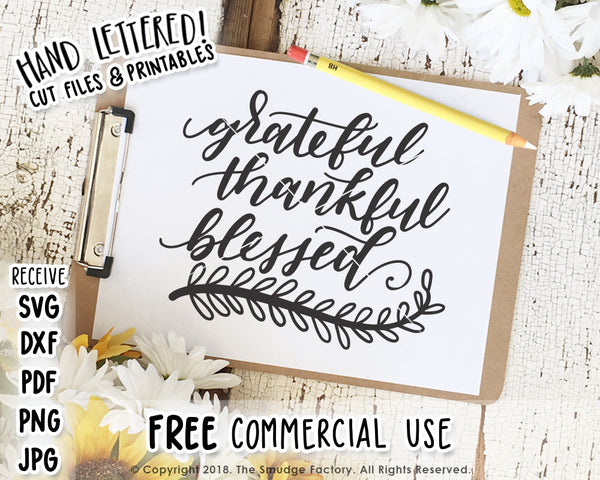 Grateful Thankful Blessed SVG & Printable