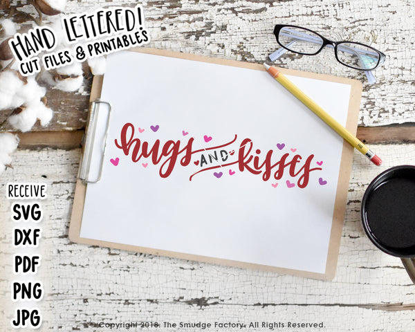 Hugs & Kisses SVG & Printable