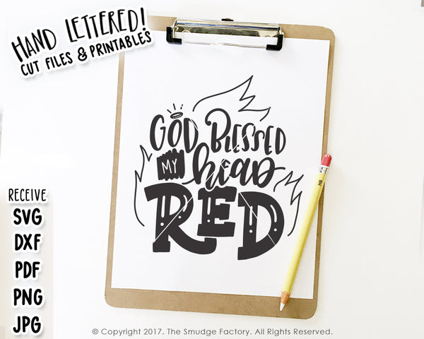 God Blessed My Head Red SVG & Printable