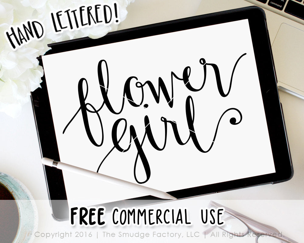 Flower Girl SVG Cut File, Silhouette, Cricut, Vector Hand Lettered Calligraphy Cutting File, Download, DIY Sign, Wedding Graphic Overlay