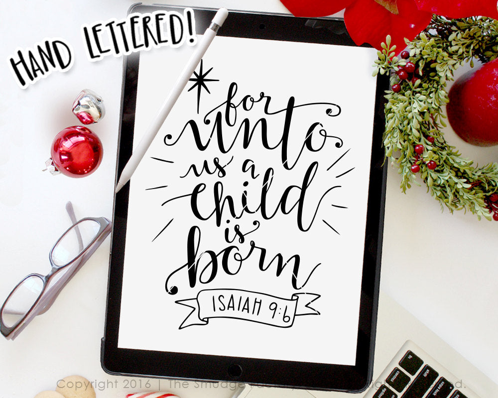 For Unto Us A Child Is Born SVG & Printable