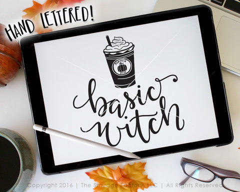 Basic Witch With Cold Coffee SVG & Printable