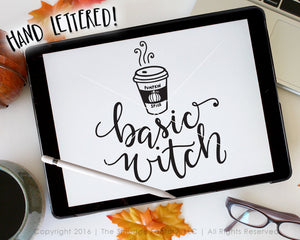 Basic Witch With Hot Coffee SVG & Printable