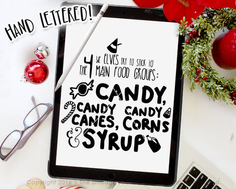 Elf 4 Main Food Groups, Candy Canes SVG & Printable