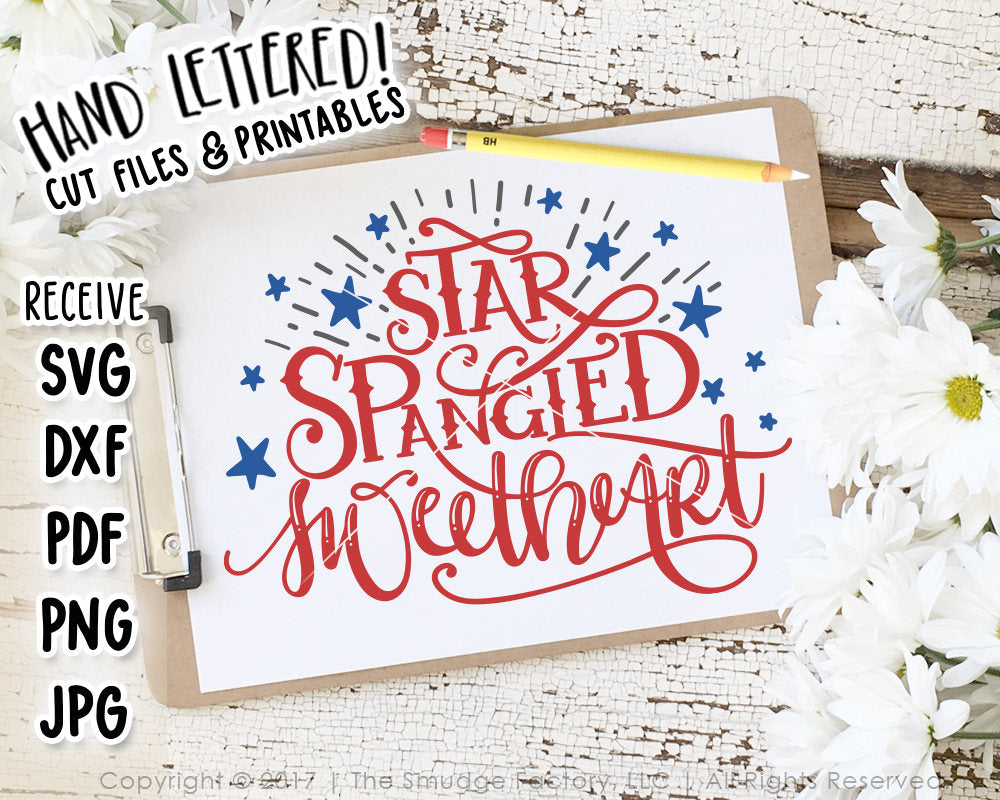 Star Spangled Sweetheart SVG & Printable