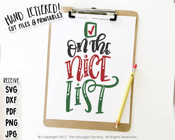 On The Nice List SVG & Printable