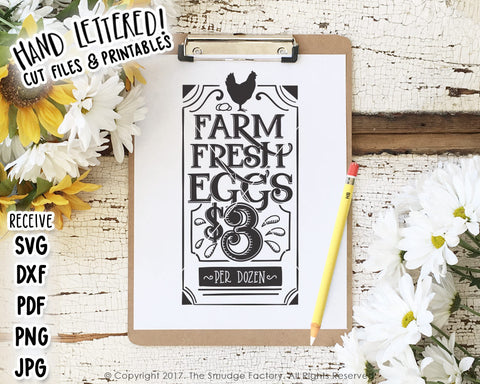 Farm Fresh Eggs $3 SVG & Printable
