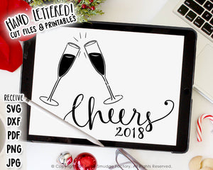 happy new year cheers 2018 svg printable