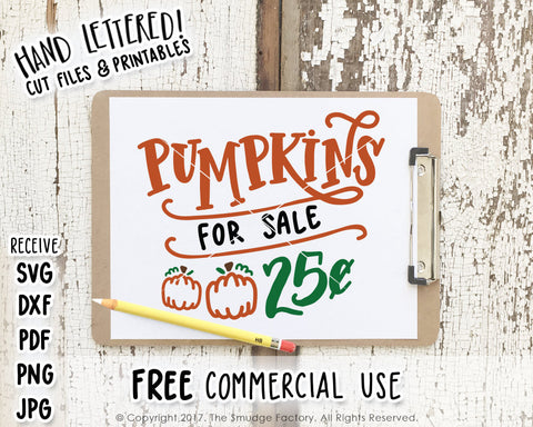Pumpkins For Sale 25 Cents SVG & Printable