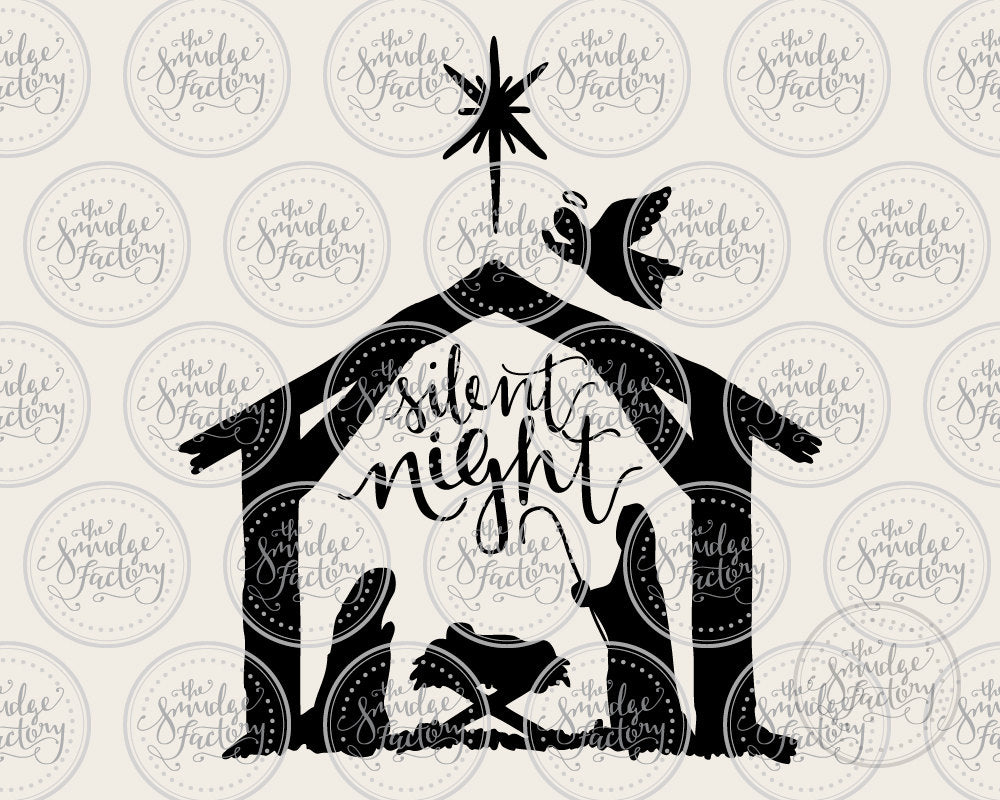 Silent Night Manger SVG & Printable