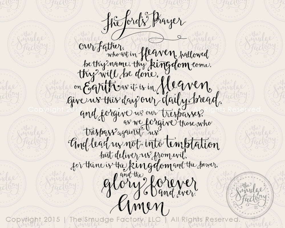 It's just a photo of Witty Free Printable Lord's Prayer