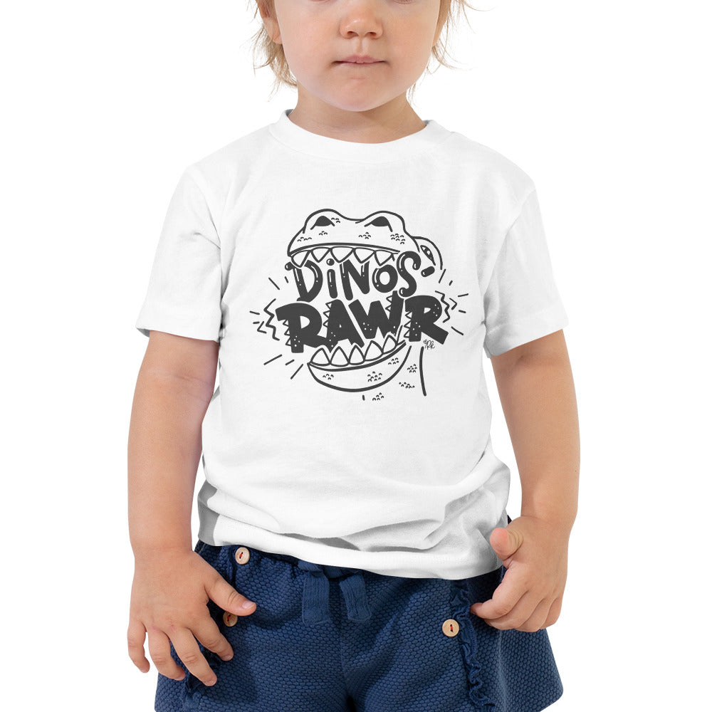 Dinos-Rawr Toddler & Kids' Tee, Charcoal Graphic