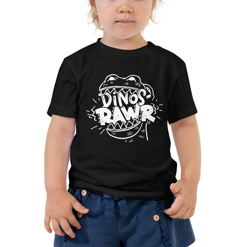 Dinos-Rawr Toddler & Kids' Tee, White Graphic