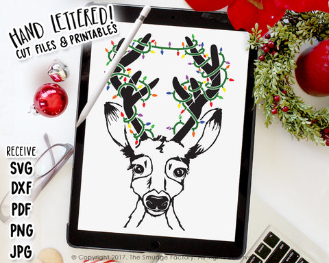 Reindeer With Lights SVG & Printable