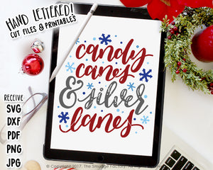Candy Canes & Silver Lanes SVG & Printable