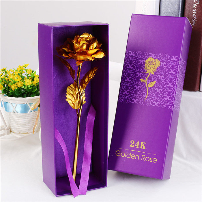 Foil Plated Rose Gold Rose With Original Box Wedding Decoration