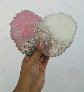 Pink & White Resin Coasters - Set of 4