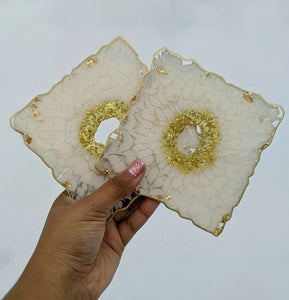 White & Gold Square Resin Coasters - Set of 4