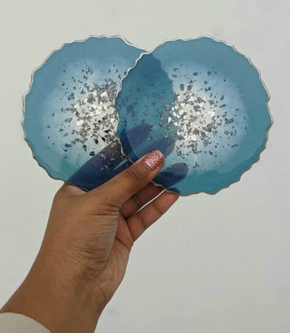 Blue Resin Coasters -  Set of 4