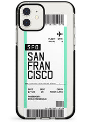 San Francisco Boarding Pass iPhone Case  Black Impact Custom Phone Case - Case Warehouse